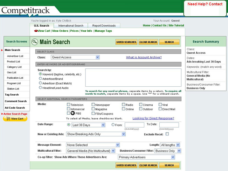 Competitrack Search interface
